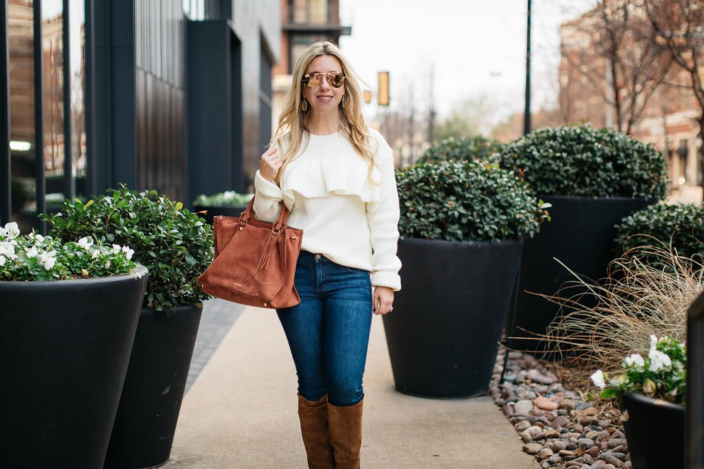 Winter White + Tobacco Suede Boots