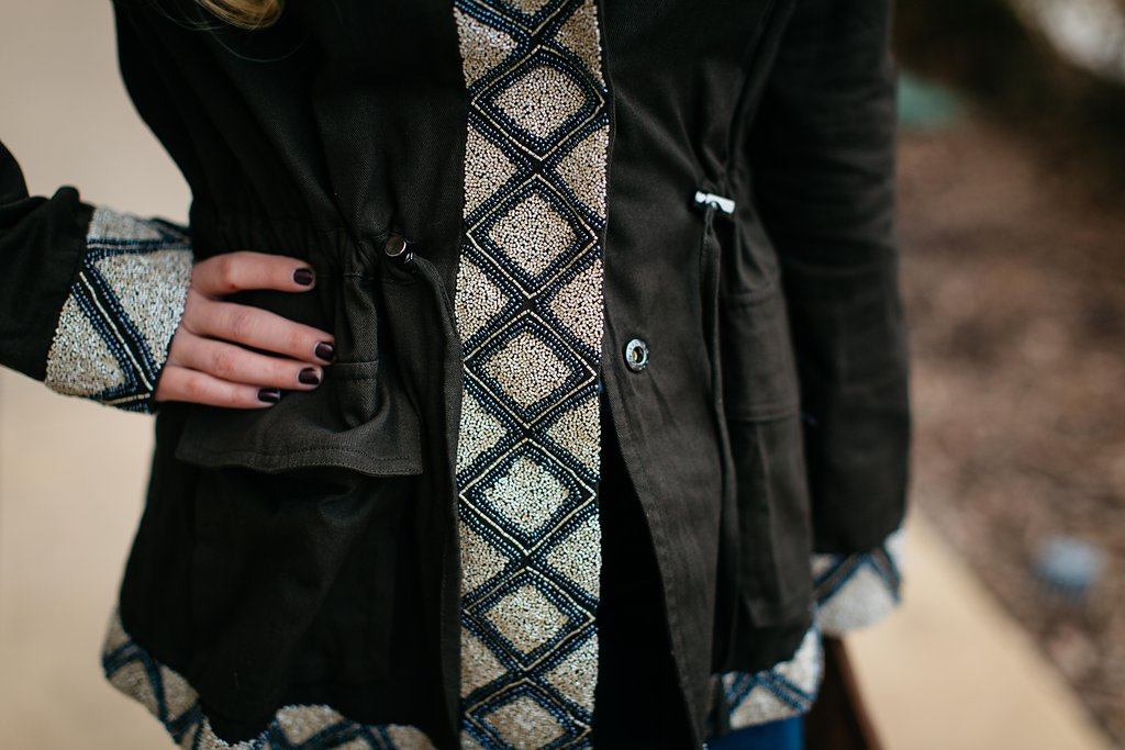Beaded Detailed Cargo Jacket