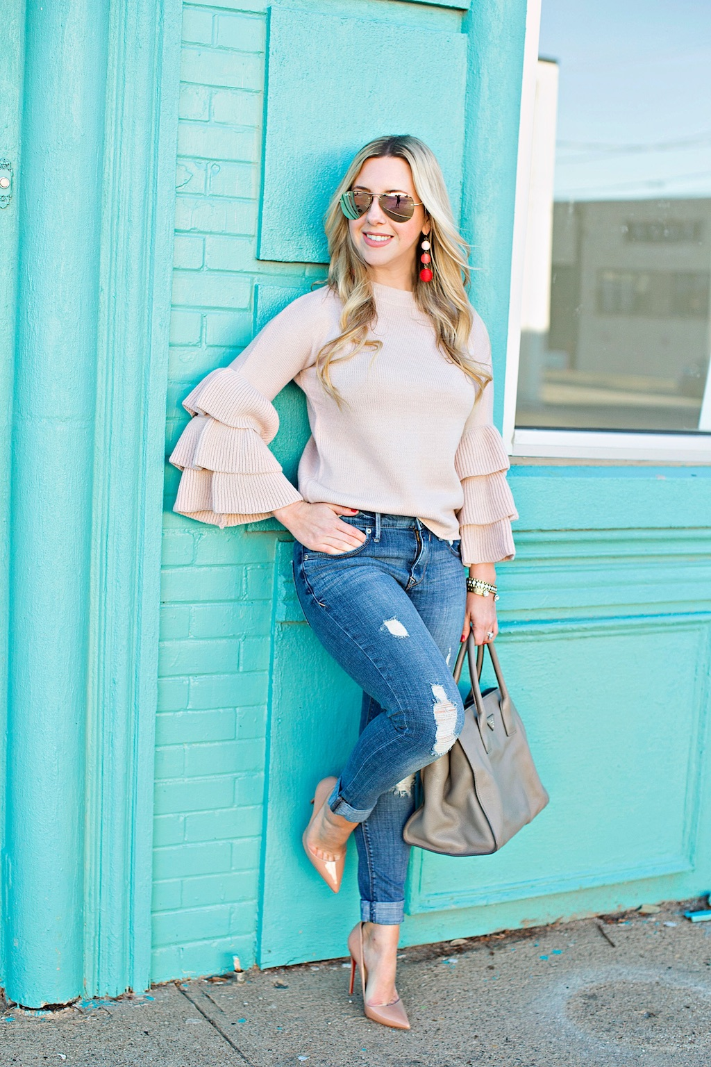 Pink Bell Sleeve Sweater | The Darling Petite Diva | Nicole Kirk