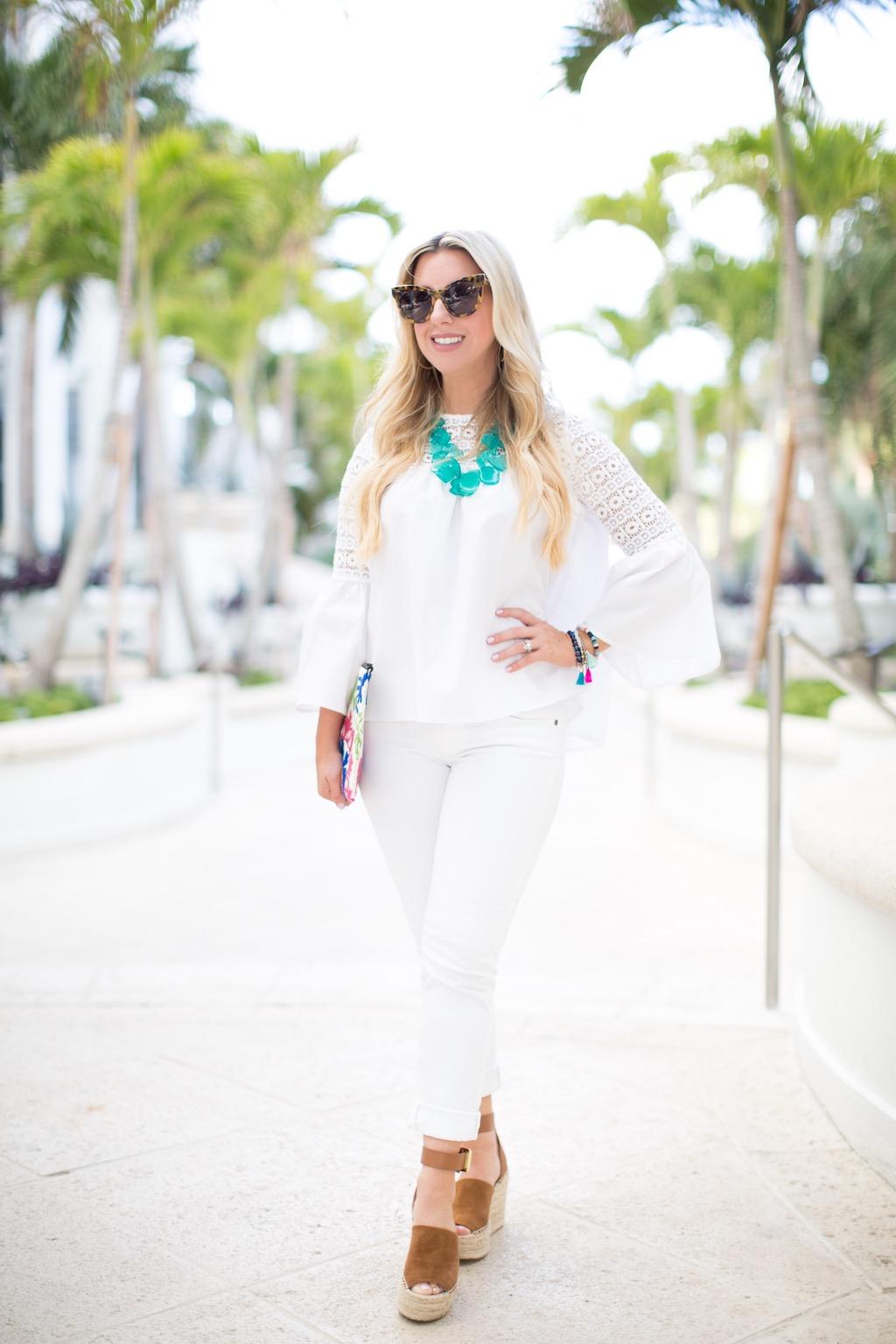 White Bell Sleeve Top | The Darling Petite Diva | Nicole Kirk
