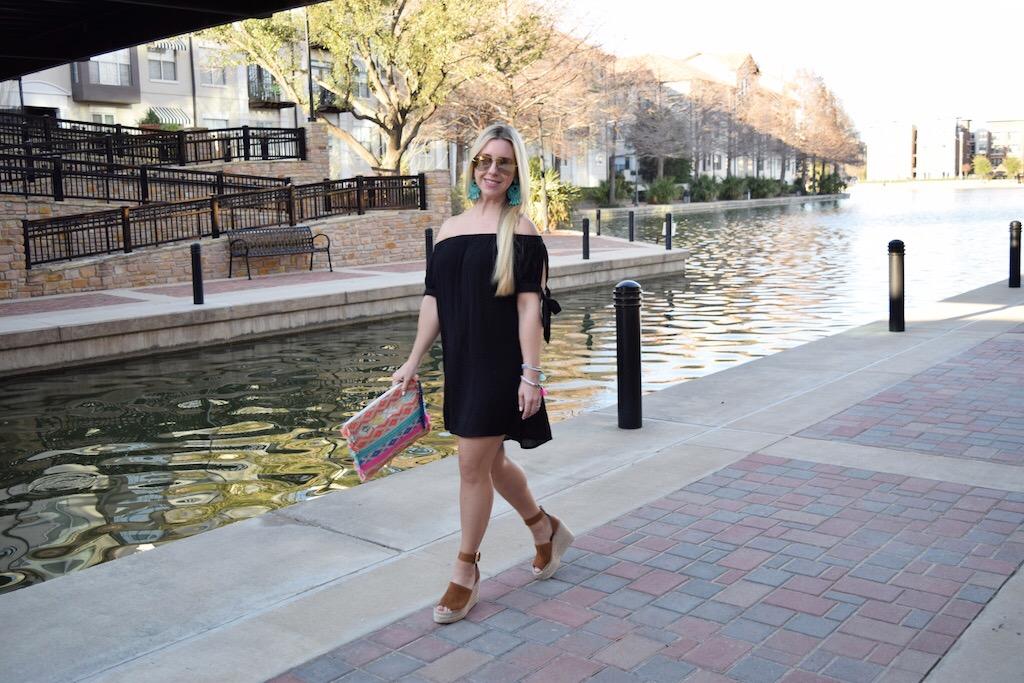 Black Off The Shoulder Dress - 2 Ways