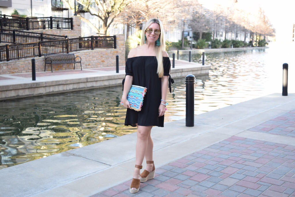 Black Off The Shoulder Dress - 2 Ways