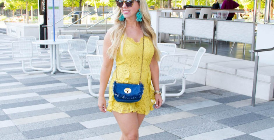 Yellow Lace Romper + 8 Must Haves For Spring | The Darling Petite Diva | Nicole Kirk