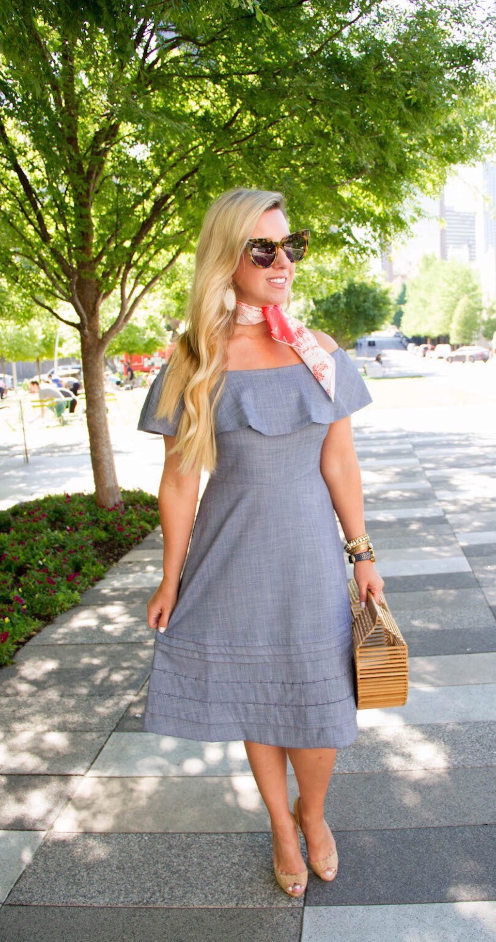 Chambray Off The Shoulder Dress | The Darling Petite Diva