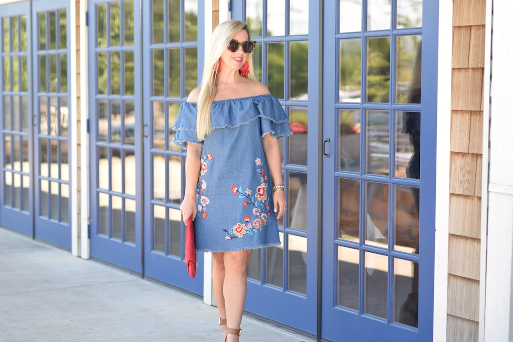 Off The Shoulder Denim Arrangement Dress | The Darling Petite Diva