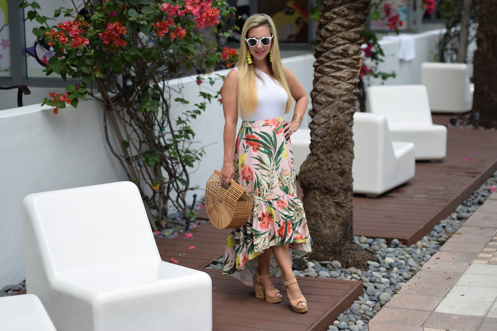 Palm Print Midi Skirt with Ruffle | The Darling Petite Diva | Nicole Kirk