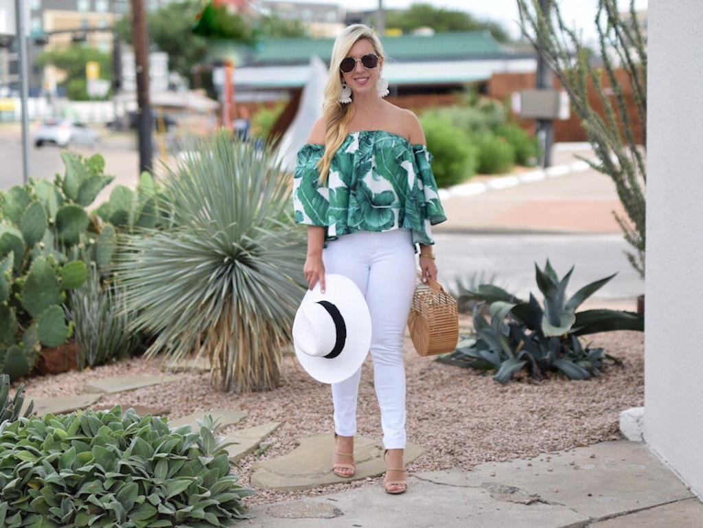 Palm Print Off The Shoulder Top | The Darling Petite Diva | Nicole Kirk