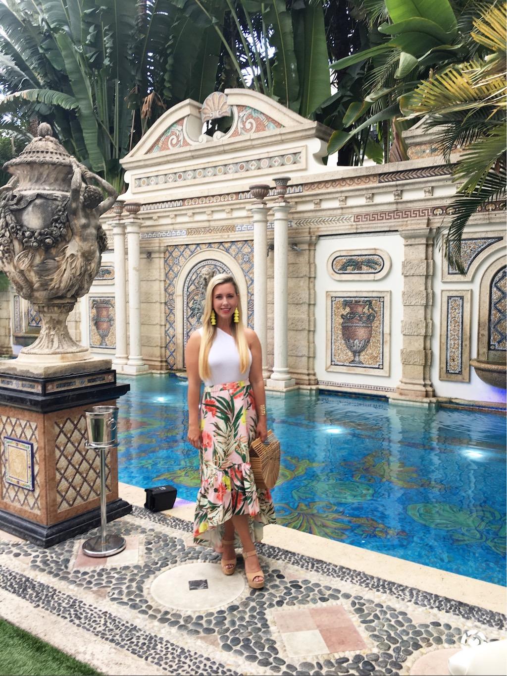 Palm Print Midi Skirt with Ruffle   The Darling Petite Diva   Nicole Kirk