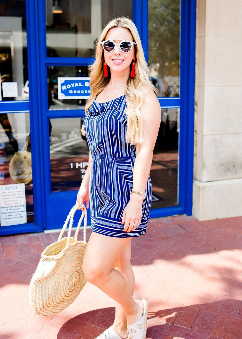 Stripe Ruffle Romper, Nicole Kirk, The Darling Petite Diva Blog