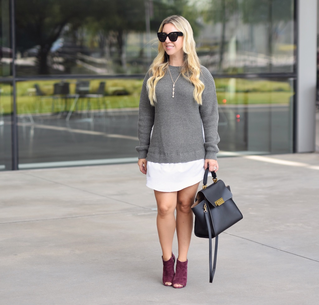 Faux Shirt Sweater Dress | Fall Sweater Dress | The Darling Petite Diva