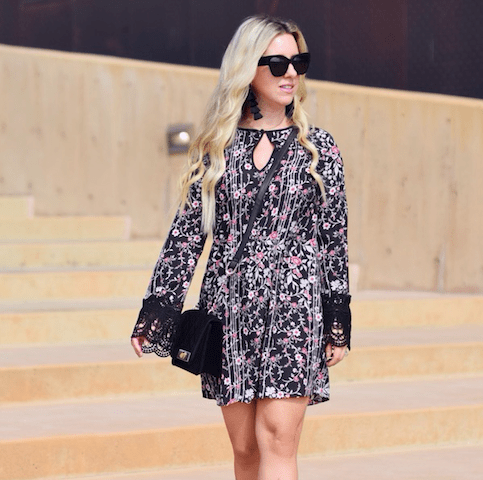 Fall Floral Dress With Lace Bell Sleeves