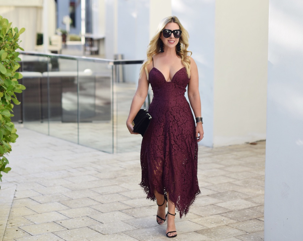Burgundy Lace Party Dress