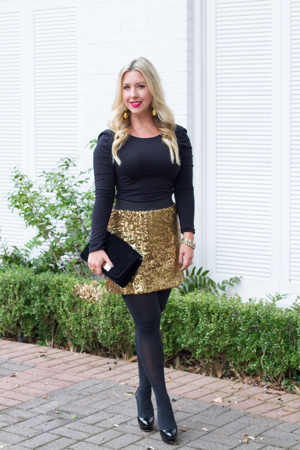 How To Style A Gold Sequin Skirt 2 Ways   The Darling Petite Diva