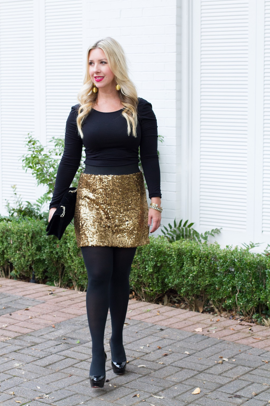 How To Style A Gold Sequin Skirt 2 Ways | The Darling Petite Diva