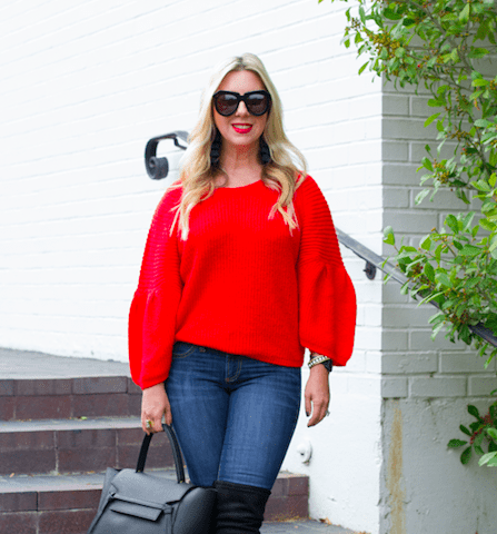 Red Bubble Sleeve Sweater | The Darling Petite Diva
