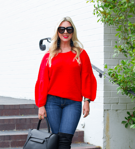 Red Bubble Sleeve Sweater