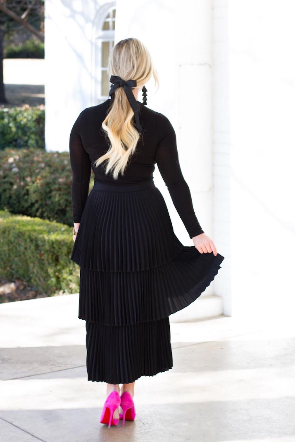 Black Tiered Pleated Skirt | The Darling Petite Diva | Nicole Kirk