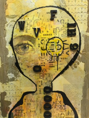 "Dyslexia, 1 (Dyptich) 20""x28"" mixed media AVAILABLE"