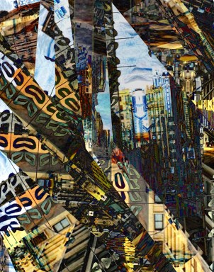 """""""Merging at the Lincoln Tunnel"""" Digital photo collage. City Series 2015 #ThedaSandiford"""