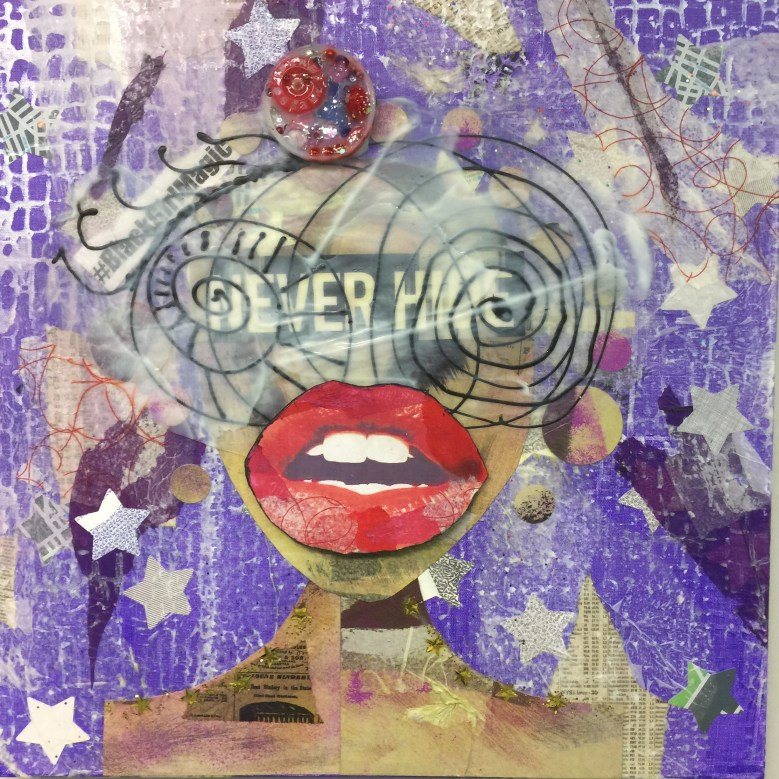 """Never Hide"" 20""x20""x1 Mixed Media Canvas Acrylic skin, painted cardboard, tissue paper, recycled envelops, glitter, beads, bottle caps 2017"