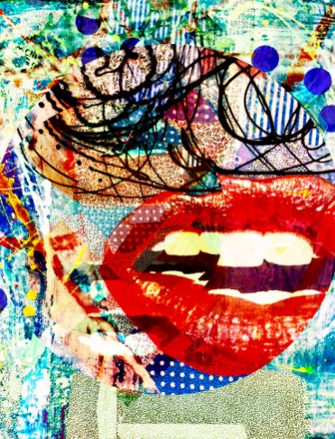 """B Rhapsody"" Theda Sandiford Digital Collage on Metallic Photo Paper, AP 14""x11""m 20""x16"" framed"