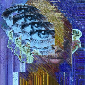 """""""Harmony"""" Digital collage of cut and paste collage. Diva Muse Series 2015 #ThedaSandiford #SelfPortrait"""