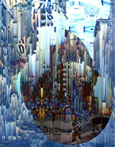 """Crosstown Traffic"" Glitch digital collage City Series 2015 #ThedaSandiford #glitch"