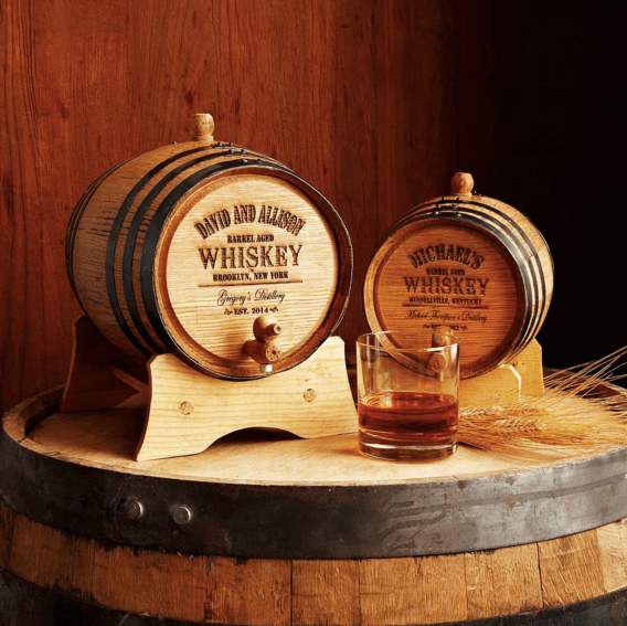 gifts-for-drinkers-personalized-whiskey-barrel-- alcohol gifts from @thedashanddine
