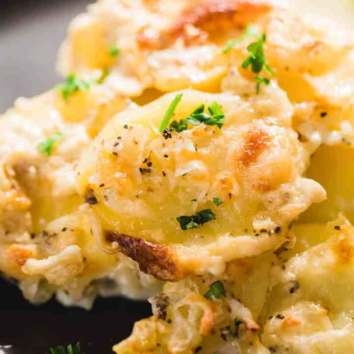 A serving of potatoes Au Gratin sits on a plate. Hot, ready to eat.