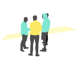 Illustration of people in a group talking.