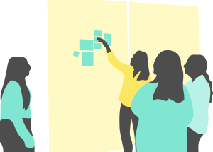 Illustration of people using post-it notes.