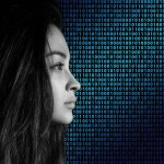 woman in profile with binary in background