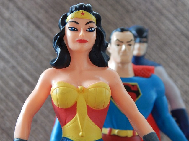 wonderwoman, superman, and batman action figures