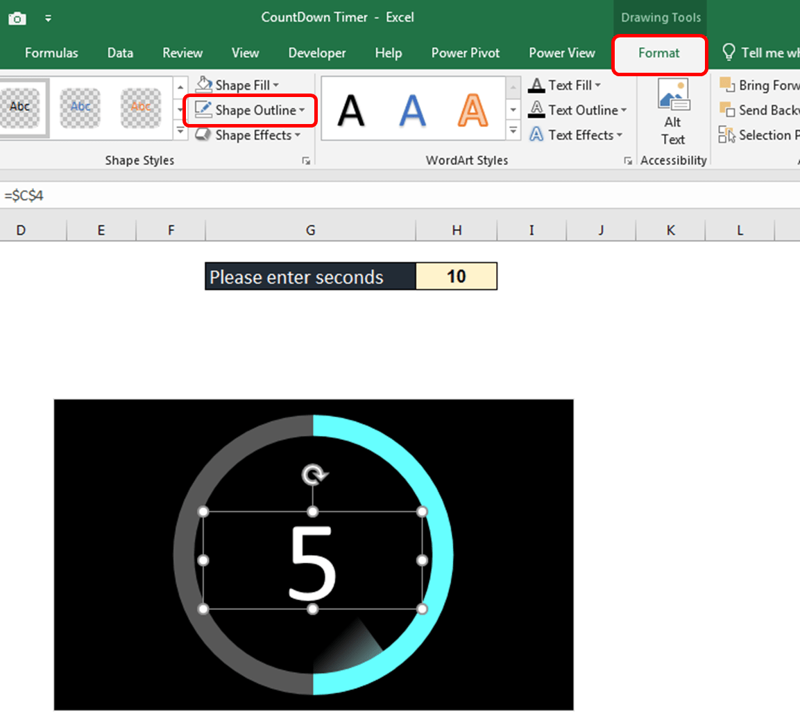 Animated Countdown Timer In Excel
