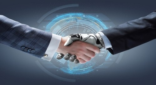 general AI shaking hands with human