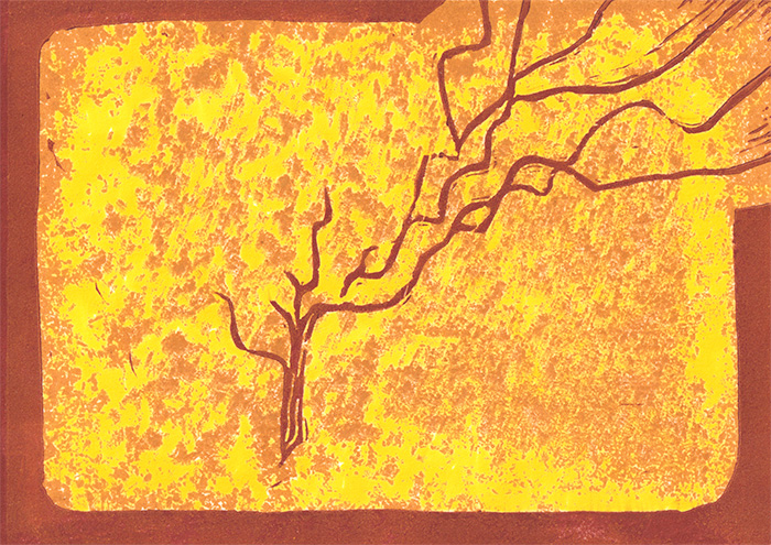 """By: Lisa Selvia Johnson Title: """"Growth"""" Medium : Lino/Wood Relief Edition: A/P Size: 7"""" x 5"""""""