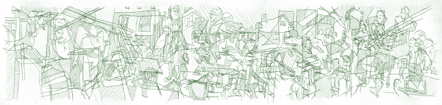 "By: Lisa Selvia Johnson Title: ""Praxis"" Medium : Drypoint on Plexi Edition: A/P Size: 19"" x 4"""
