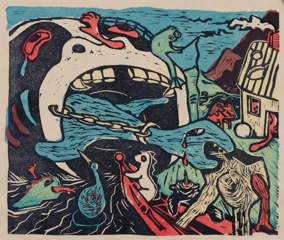 "Title:""The Great Maw"" By: Sherraid Scott Medium:wood block with silk screen color"
