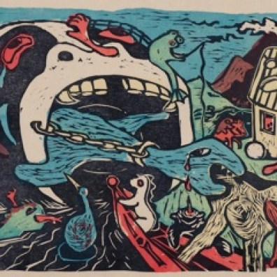 """Title:""""The Great Maw"""" By: Sherraid Scott Medium:wood block with silk screen color"""