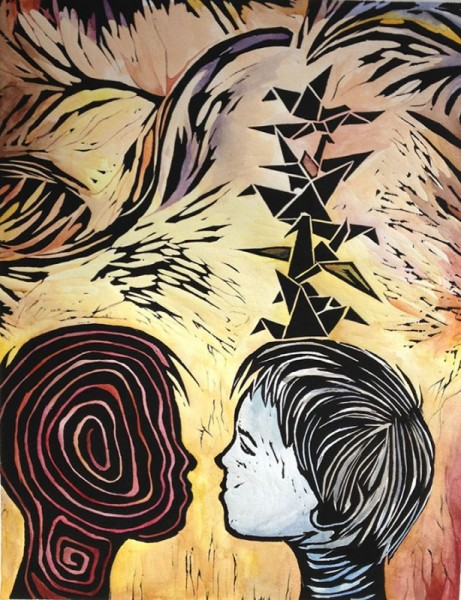 By: Annie Lee-Zimerle Title: Six Birds On Top Medium: Wood Engraving and Watercolor