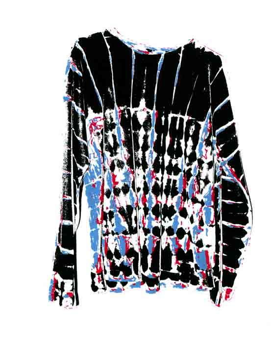 Title: Rosalie Shibori Shirt By: Bruce Campbell Medium: Screenprint