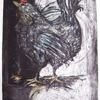 Title: Blue Cockerel By: Doug Fiely Size: 12 x 16 in. Medium: woodcut