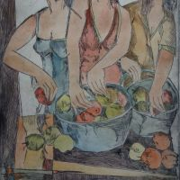 Title: Apple Vendors By: Doug Fiely Size: 12 x 18 in. Medium: Hand Colored Etching