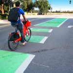 Bicycle in a marked bike lane