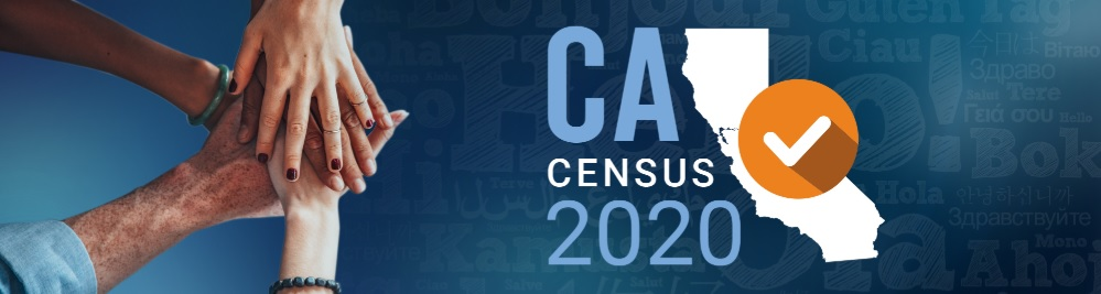 A group of people joins hands next to the California Census 2020 logo.