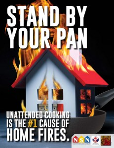 A pan on a stove contains a house on fire.
