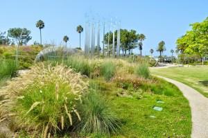 Miniature wind turbines are incorporated in Santa Monica's Tongva Park.