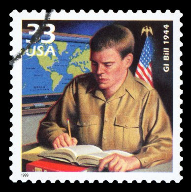 Postage stamp commemorating the GI Bill