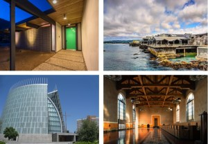 Clockwise from upper left: A Highlands Eichler home, Monterey Bay Aquarium, Union Station, and Cathedral of Christ the Light.