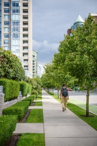 A man wearing a backpack walks on a city sidewalk bordered by trees.